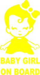 Sticker auto baby girl on board culoare galbena