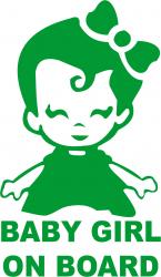 Sticker auto baby girl on board culoare verde