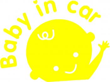 Sticker auto Baby in car culoare galbena