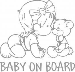Sticker auto Baby On Board ursulet culoare argintie Huse si Accesorii