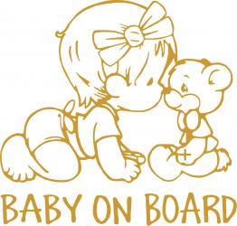 Sticker auto Baby On Board ursulet culoare aurie Huse si Accesorii