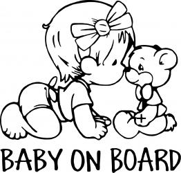 Sticker auto Baby On Board ursulet culoare neagra Huse si Accesorii