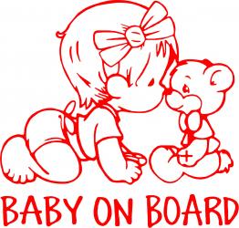 Sticker auto Baby On Board ursulet culoare rosie Huse si Accesorii