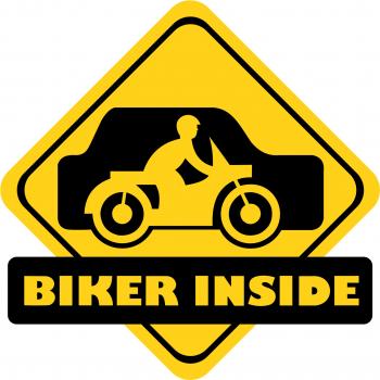 Sticker auto Biker Inside culoare negru fond galben