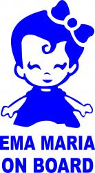 Sticker auto Ema Maria on Board culoare bleu