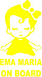Sticker auto Ema Maria on Board culoare galbena