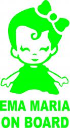 Sticker auto Ema Maria on Board culoare verde