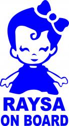 Sticker auto Raysa on Board culoare albastra