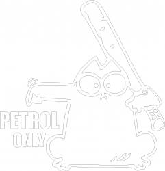 Sticker clapeta rezervor auto culoare alba Petrol Only