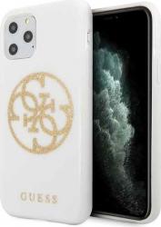 Husa Premium Originala Guess iPhone 11 Pro Glitter 4g Circle Logo Alb - Guhcn58tpuwhglg Huse Telefoane