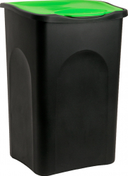 Cos gunoi cu capac Plastic Negru / verde 50 litri