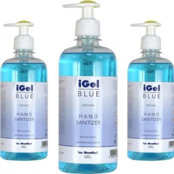 iGel Blue gel antibacterian 70 alcool pentru maini 500 ml Gel antibacterian
