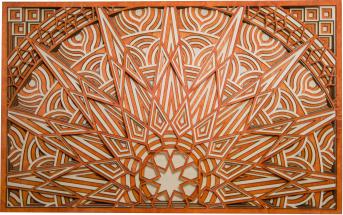 Tablou in straturi mandala soare 60x37cm portocaliu cu alb Tablouri