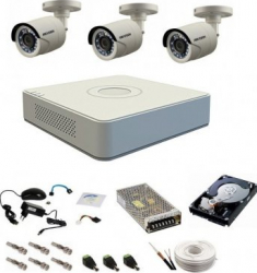 Sistem complet de supraveghere cu 3 camere de exterior Hikvision Turbo HD 720P infrarosu 20 m Camere de Supraveghere