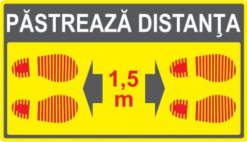 Marcaj podea 5.1 Pastrati distanta sociala 350 x 200 mm autocolant. Stickere decorative