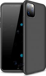 Husa 360 and deg Matte Full Protection Apple iPhone 11 Pro Max Negru fata + spate + folie de protectie din sticla Huse Telefoane