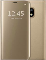 Husa Kickstand Mirror Functie Stand Capac translucid Design elegant Samsung Galaxy J3 2017 Gold Huse Telefoane