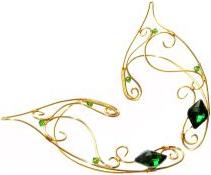Cercei Urechi de elf Elven Rose Design Green Light handmade placat aur Cercei