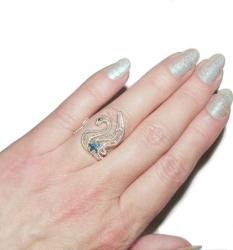Inel Elven Rose Design Lebada stelara handmade placat argint cristal Swarovski Inele