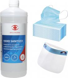 Kit protectie. Dezinfectant 1L 50 masti protectie 1 viziera Gel antibacterian