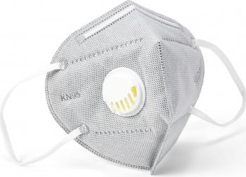 Masca KN95 FFP2 6 straturi cu VALVA expiratie si filtru carbon activ set 5 Bucati sigilate Masti chirurgicale si reutilizabile