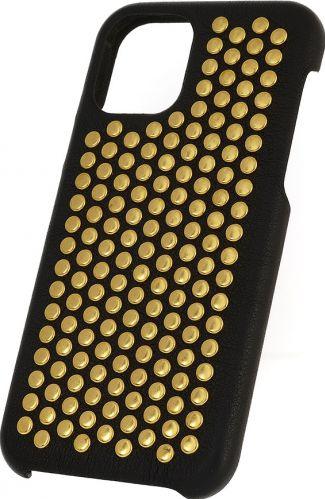 Husa Iphone 11 Pro piele naturala Nappa Borchie Metallic Caps V1 gold Huse Telefoane