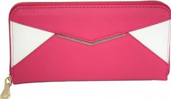 Portofel elegant de dama in doua culori roz cu alb Portofele