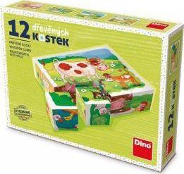 Puzzle din lemn cuburi La ferma 12buc 6 imagini posibile Puzzle
