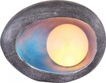 Ornament piatra solara cu efect flacara LED 0.06W protectie IP44 20x15x10cm albastru Corpuri de iluminat