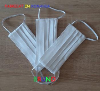 Set de 3 masti de protectie reutilizabile doua straturi albe Masti chirurgicale si reutilizabile