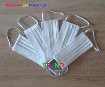 Set de 5 masti de protectie reutilizabile doua straturi albe Masti chirurgicale si reutilizabile