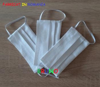 Set de 3 masti de protectie reutilizabile albe pentru copii Masti chirurgicale si reutilizabile