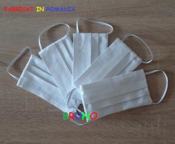Set de 5 masti de protectie reutilizabile albe pentru copii Masti chirurgicale si reutilizabile