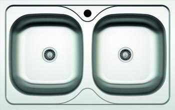 Chiuveta cu doua cuve pentru masca Z-INOX ZLN-0216 Inox anticalcar 50x80 cm+sifon scurgere cu ventil
