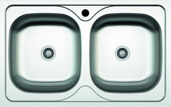 Chiuveta doua cuve pentru blat+racord scurgere dublu Z-INOX ZLN-2982 Inox anticalcar 50x80 cm