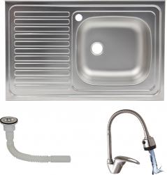 Pachet Chiuveta pentru masca ZLN-0193DR Inox anticalcar Cuva dreapta 50x80 cm racord flexibil pt scurgere inclus + Baterie Flexibila
