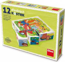 Puzzle din lemn cuburi Profesii 12 buc 6 imagini posibile Puzzle