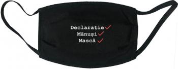 Masca protectie reutilizabila din material textil cu imprimeu and rdquo Declaratie manusi masca and rdquo neagra Masti chirurgicale si reutilizabile