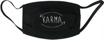 Masca protectie reutilizabila din material textil cu imprimeu and rdquo Karma and rdquo neagra Masti chirurgicale si reutilizabile