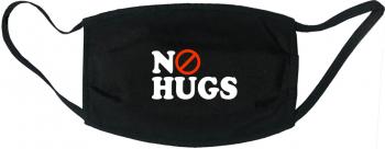 Masca protectie reutilizabila din material textil cu imprimeu and rdquo No Hugs and rdquo neagra Masti chirurgicale si reutilizabile