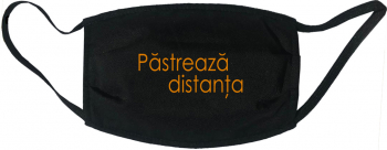 Masca protectie reutilizabila din material textil cu imprimeu and rdquo Pastreaza distanta and rdquo neagra Masti chirurgicale si reutilizabile