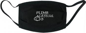 Masca protectie reutilizabila din material textil cu imprimeu and rdquo Plimb catelul and rdquo neagra Masti chirurgicale si reutilizabile