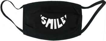 Masca protectie reutilizabila din material textil cu imprimeu and rdquo Smile and rdquo neagra Masti chirurgicale si reutilizabile