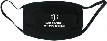 Masca protectie reutilizabila din material textil cu imprimeu and rdquo You Decide and rdquo neagra Masti chirurgicale si reutilizabile