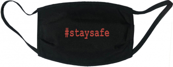 Masca protectie reutilizabila din material textil cu imprimeu staysafe neagra Masti chirurgicale si reutilizabile