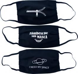 Set 3 masti de protectie reutilizabile din material textil cu imprimeu negre Masti chirurgicale si reutilizabile