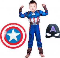 Costum cu muschi Captain America marimea L 7-9 ani scut 31 cm masca LED cadou