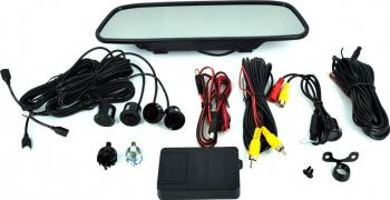 Kit senzori parcare si sistem video de mers inapoi cu monitor tip oglinda Alarme auto si Senzori de parcare