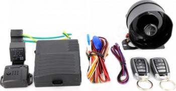 Alarma auto cu sirena cu telecomanda cu 3 butoane inchidere centralizata si senzor de soc cu 2 zone Carguard Alarme auto si Senzori de parcare