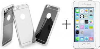 Pachet husa Elegance Luxury Tip Oglinda Silver pentru Apple iPhone 5 /5S /5SE cu folie de sticla gratis PRODUSE NOI